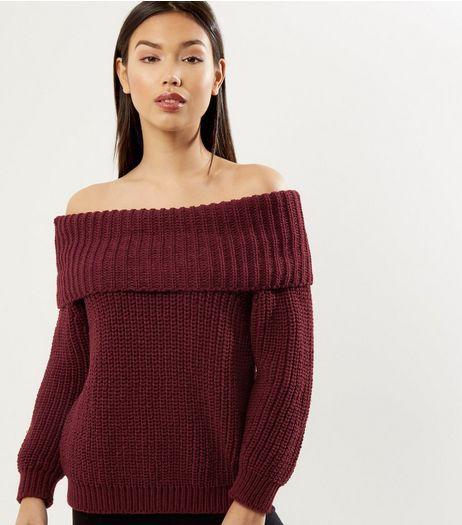 Burgundy Ribbed Bardot Neck Jumper | New Look