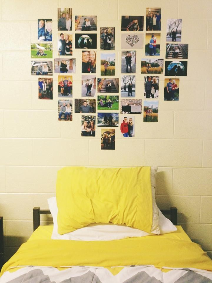 Heart photo collage- dorm room : Really wish i did this my first year here, family photos are the best!!