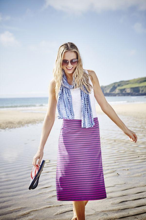 Beach Midi Skirt Stripe Orchid