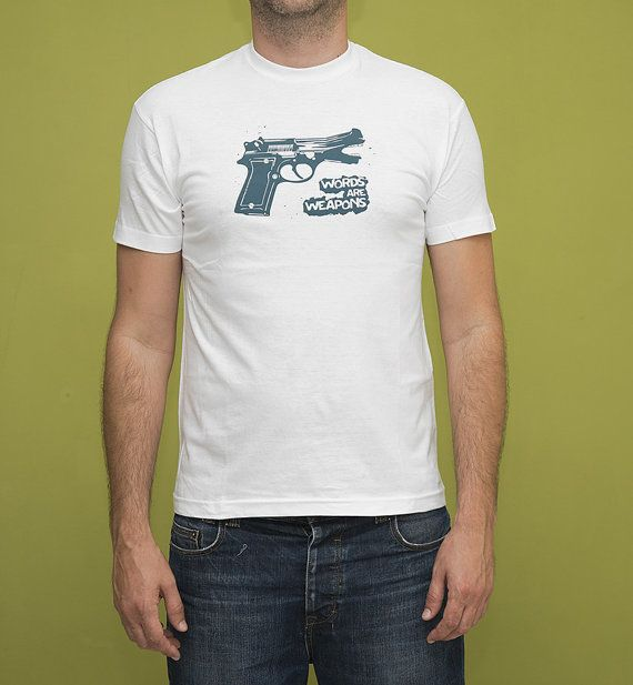 Words are Weapons T-shirt, No Gun Violence, Petrol on White, Silkscreen, Hand Printed, Cotton, Gift for Him, Men's Fashion, Screen print