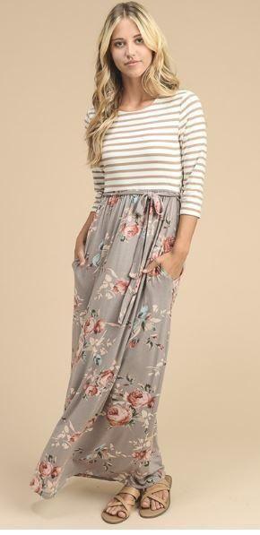 Floral & Stripes Maxi Dress