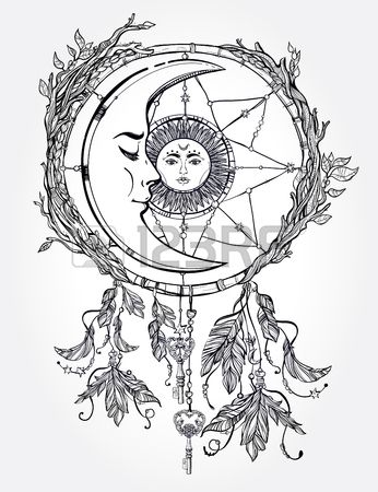 Hand drawn romantic beautiful drawing of a dream catcher adorned with feathers and leaves with sun and moon inside. Ethnic design, mystic tribal symbol for your use.