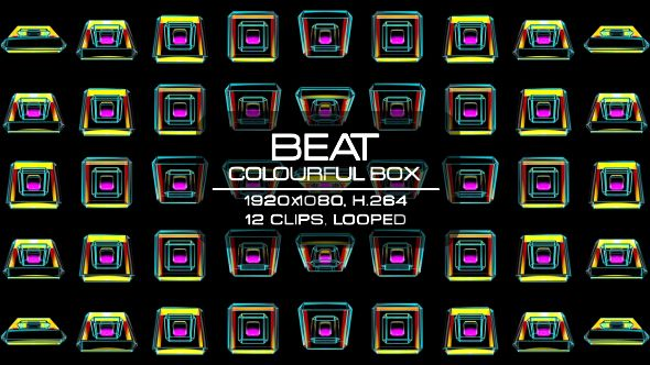 Beat Colourful Box Video Animation | 12 clips | Full HD 1920×1080 | Looped | H.264 | Can use for VJ, club, music perfomance, party, concert, presentation | #3d #box #colorful #dance #disco #geometric #glow #loop #music #pattern #rave #sequence #vj #wall #wave
