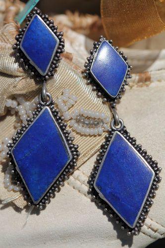Vintage 925 Sterling Silver & Blue Lapis Lazuli Pierced Post Earrings
