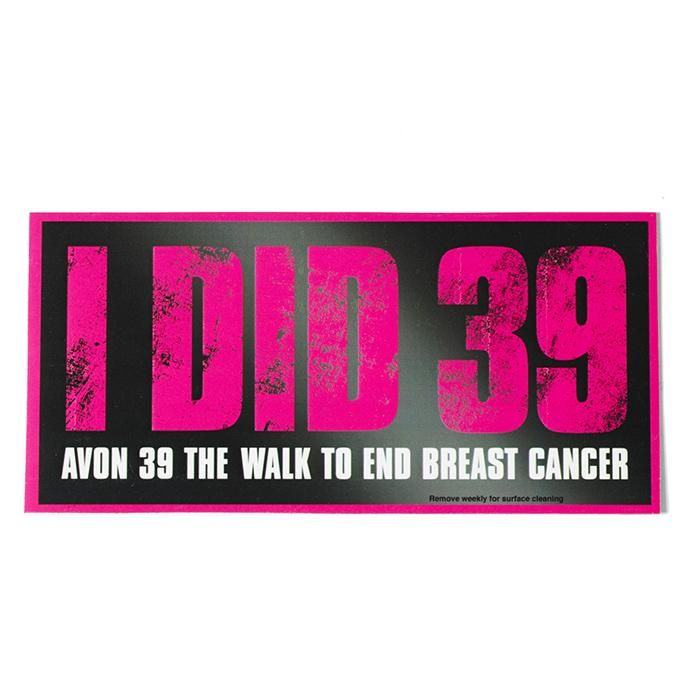 "AVON 39 is a force of change that can't be stopped, and you're part of it. Show your family, neighbors, and anyone who passes you by that you've got the Power of 39 with this durable ""I DID 39"" car magnet. Net proceeds go to the Avon Breast Cancer Crusade. #AvonRep #avon_valerie vnesnah.avonrepresentative.com"