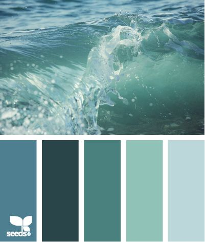 Color Palette: Blue / green colors inspired by water and waves. Love the sea greens. So calming.