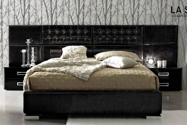 Exquisite Black Leather King-Size Bedroom Set with Luxury Black Croc-Leather Upholstered Bed Platform with Wide Headboard and Twin Glossy Integrated Modern Nightstand Tables. Bedroom. Charming King-Size Bedroom Furniture Sets. #KingSizeBedroomSets