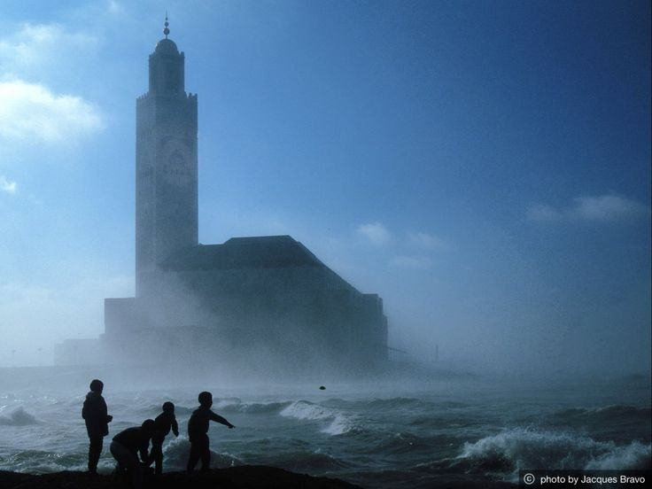 The Hassan II Mosque, Casablanca, Morocco. Its minaret is the world's tallest at 210 metres (689 ft). Ιt looks out to the Atlantic Ocean, the sea bed being visible also through the glass floor of the building's hall.[http://en.wikipedia.org/wiki/Hassan_II_Mosque]