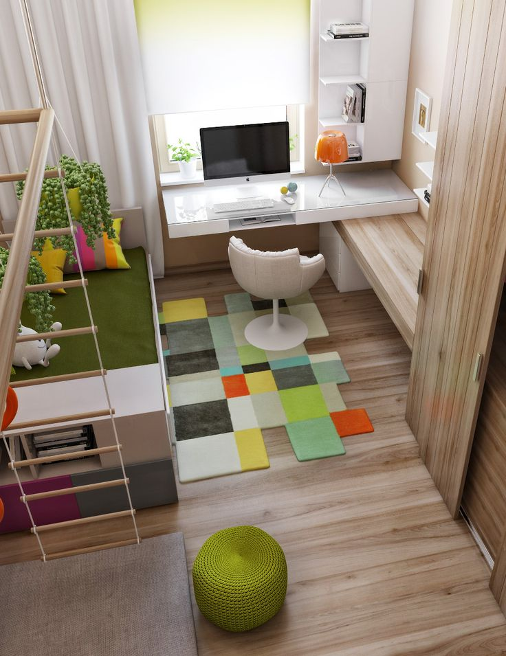 Ukrainian interior design over at Home Designing:  Even the most modern interiors make space for colourful accents in the way of children's rooms, still using muted tones to blend with the rest of the decor.