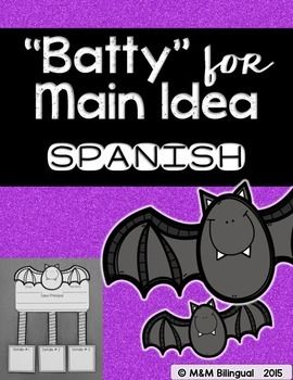 Batty for Main Idea Craft in SpanishRead a story with your students and discuss the main idea and details. Then have them fill out this cute graphic organizer in SPANISH! Perfect for any bat unit or for October celebrations/decorations.Enjoy!If you enjoy this FREEBIE:See more FREEBIES here!!Please leave a positive note, if you liked this activity!Keywords: halloween, bats, main idea, noche de brujas, murcielagos, idea principal