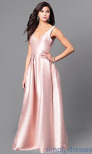 4253af31ee1 Satin V-Neck Long Prom Dress with Box Pleats in 2019