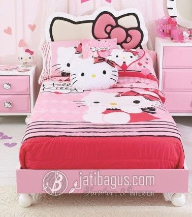Model Tempat Tidur Anak Perempuan Kartun Hello Kitty