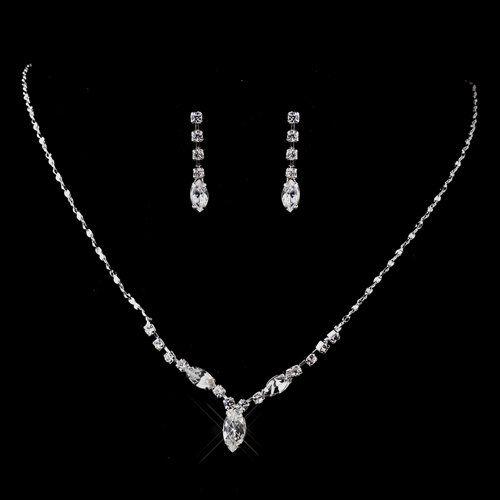 TOPSELLER! Bridal Wedding Jewelry Set Crystal Rhinestone V Shape Drop Necklace Silver Clear $13.50