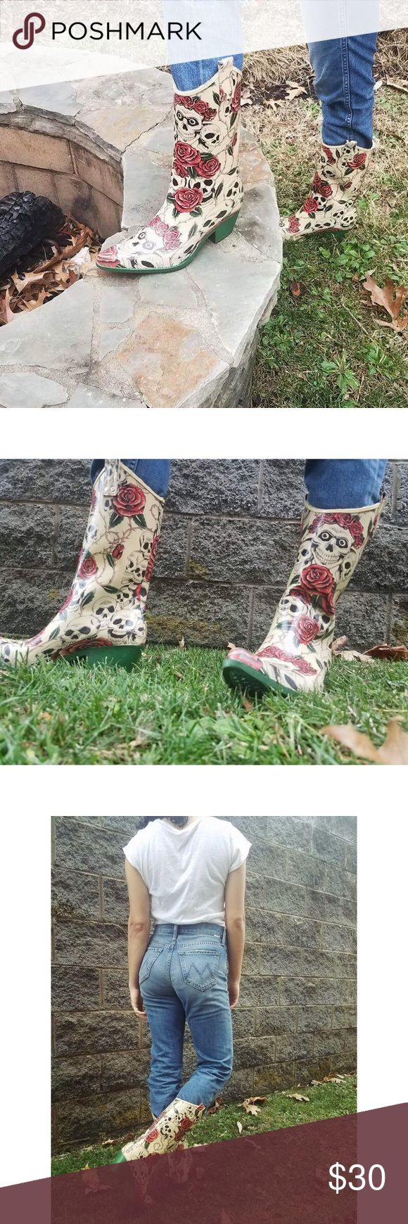 Western Skull & Roses Cowboy Rain Boots Never worn, New without tags. Bought somewhere in Nashville. Cowboy Rain boots. Shoes Winter & Rain Boots