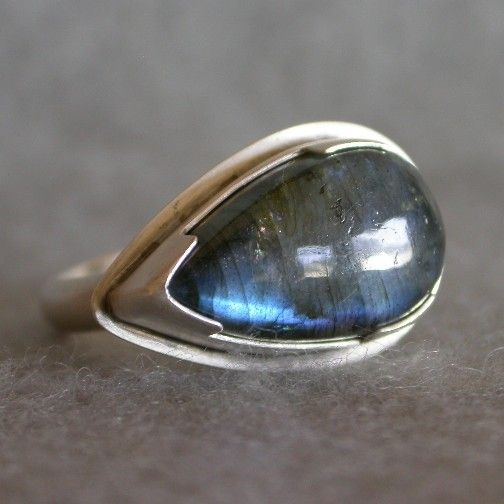 Handmade Sterling Silver Labradorite Ring  Teardrop by tkmetalarts, $158.00