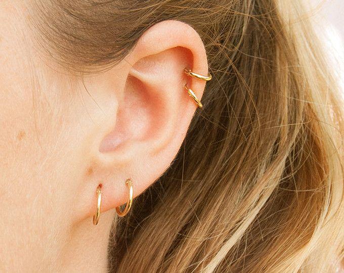 9ct gold hoops - small gold hoops - gold hoop earrings - small hoop earrings - hoop earrings - gold hoops - tiny hoop  - cartilage - B2Y9