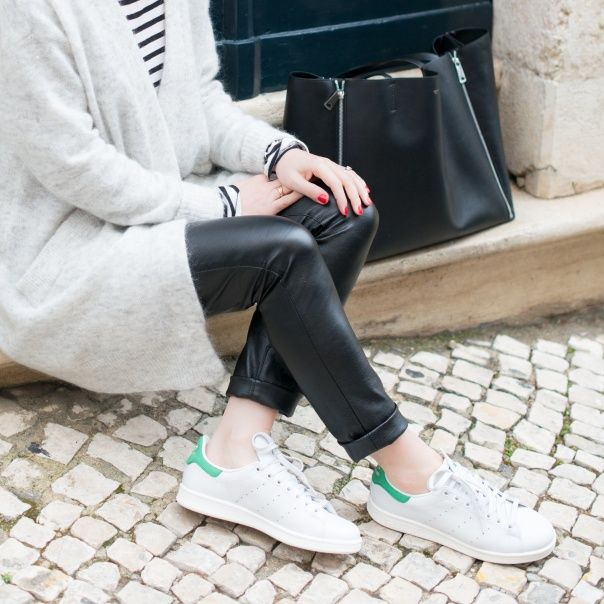 leather trousers + stan smith