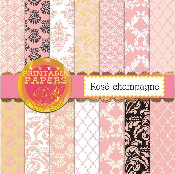 Blush digital paper 'rosé champagne' blush wedding digital paper 14 blush pink backgrounds, damask patterns