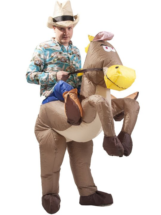Ride into the party like a cowboy! Step into the horse's legs and inflate the costume around you. The result is hilarious!
