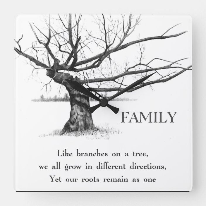 Gnarly Old Tree Quote Family Pencil Art Square Wall Clock Zazzle Com Tree Quotes Family Tree Mural Tree Sketches