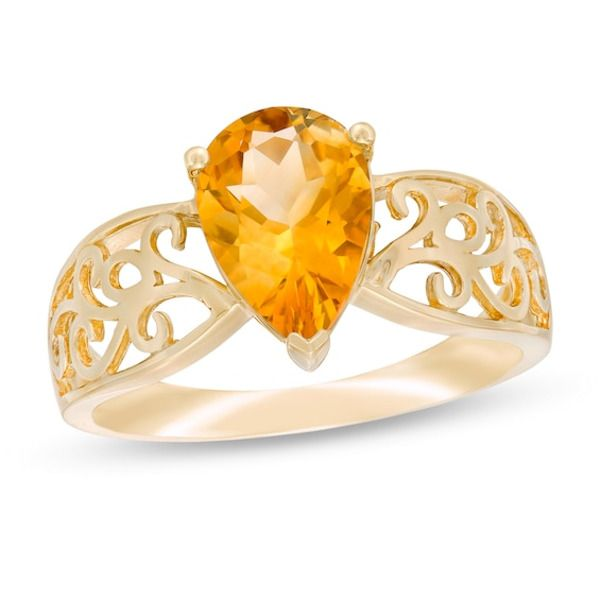 Pear Shaped Citrine Wide Filigree Ring In 10k Gold In 2020 Filigree Ring Citrine Ring Gold