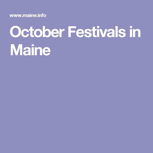 October Festivals in Maine