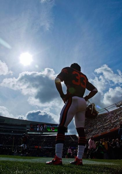 Chicago Bears cornerback Charles Tillman looks out over the field during warmups before the start of Sunday's game at Soldier Field. (Nam Y. Huh/AP)
