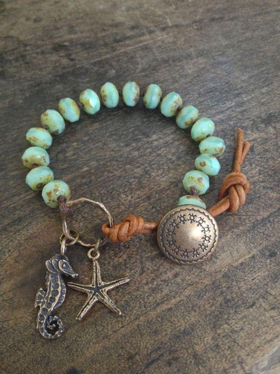 "Sea Horse & Starfish Hand Knotted Bracelet, ""Beach Boho"" $34.00"