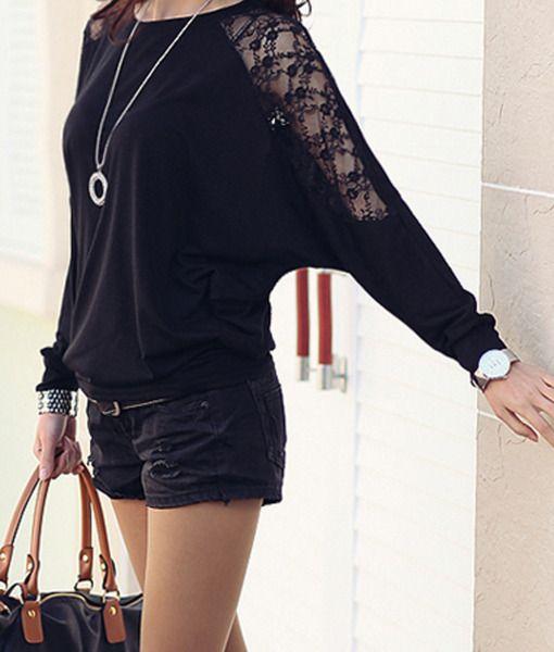Zanzea Women Loose Batwing Dolman Long Sleeve Lace T-shirt