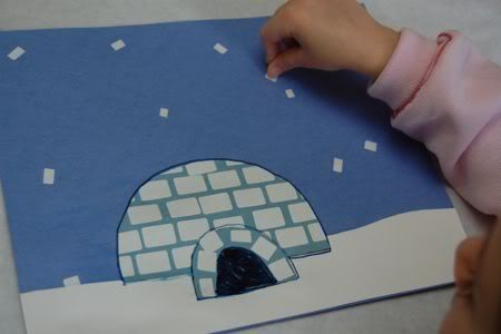 Letter I: Make your own igloo picture...uses cheap white labels as ice block stickers. Fun!