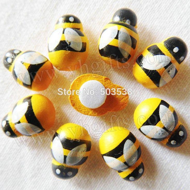 10000PCS/LOT,Mini wood yellow bee stickers,13x9mm,Kids toys,scrapbooking kit,Early educational DIY.Kindergarten crafts.Classic