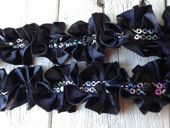 Hey, I found this really awesome Etsy listing at https://www.etsy.com/listing/162573872/new-black-ruffled-rhinestone-trim-1-yard