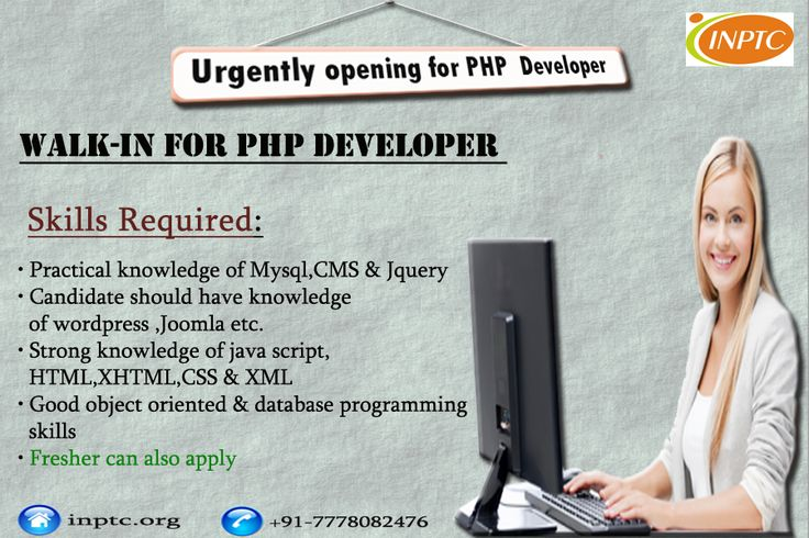 Urgently requirements for #Php Developer..Hurry..!! Don't miss this golden opportunity..Interested candidate can call on 7778082476 or send resume at baroda@instantnaukri.com