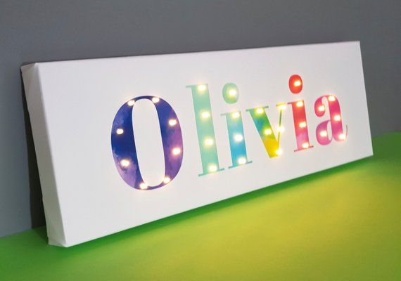 Lighted Name Sign Rainbow Wall Art Name Lights Rainbow Etsy Rainbow Wall Art Kids Bedroom Decor Letter Wall