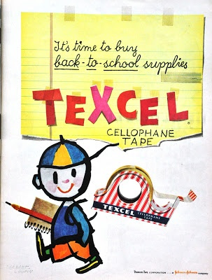 A cute vintage ad from the 50s for Texcel cellophane tape. #school #supplies #vintage #1950s