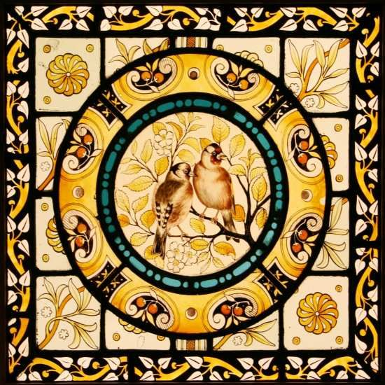 Victorian painted and stained Birds & Blossom panel By Heaton, Butler & Bayne via Tomkinson Stained Glass