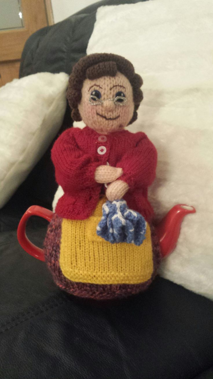 Mrs Brown  tea cosy . I  am so happy  with  the way she turned  out  .