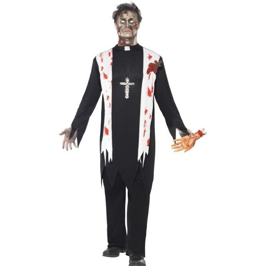 Zombie priester kostuum voor heren. Bloederige priester zombie kostuum. Zwart kostuum met witte sjaal met bloed spatters, inclusief top, broek, wond en witte kraag.