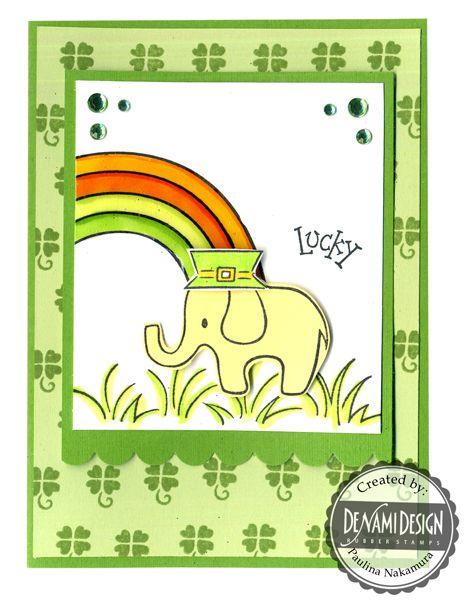 DeNami Lucky Irish Elephant card