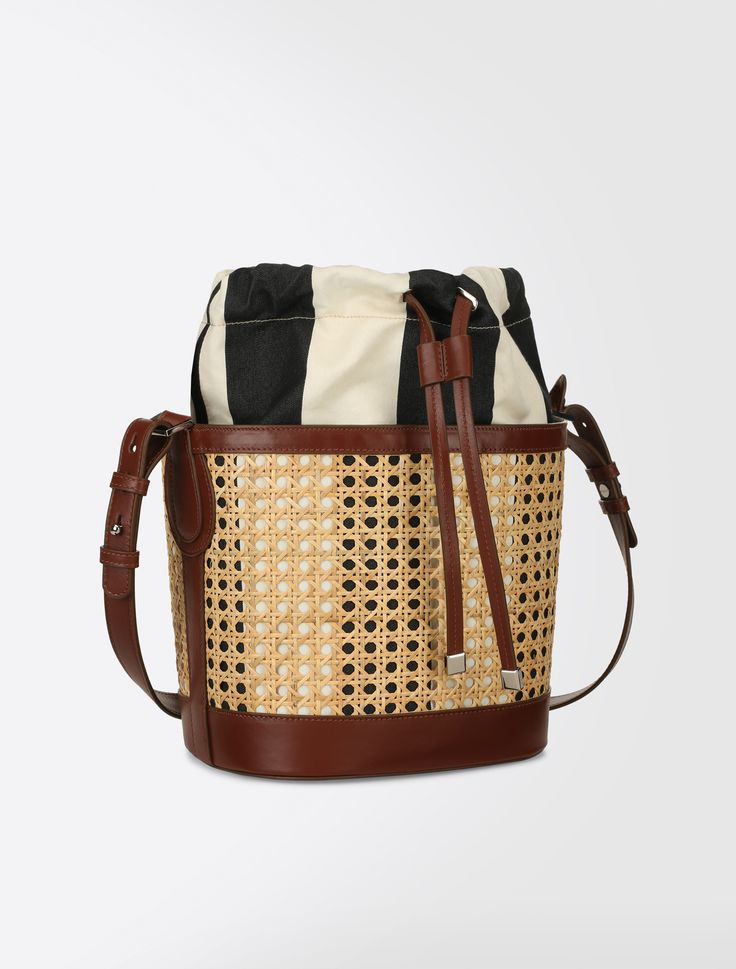 Straw bucket bag, tobacco - Weekend Max Mara