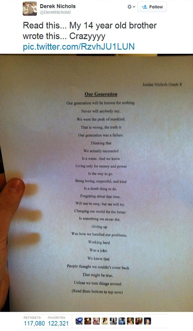 14-year-old floors the world with deceptively simple poem - Weird News - News - The Independent