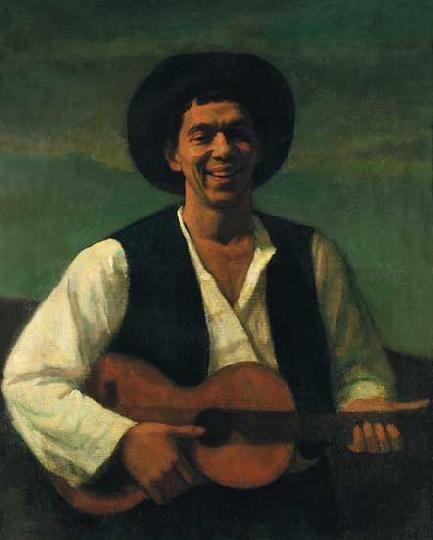 Czigány Dezső (1883-1938)  Nevetős önarckép gitárral, 1914 körül  Olaj, vászon, 100x80 cm