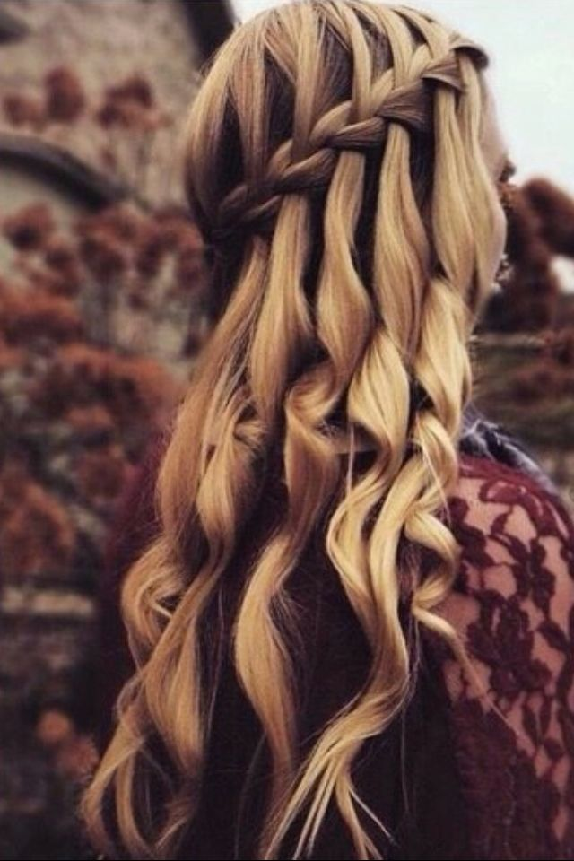 Curly hair with waterfall braid #gorgeoushair
