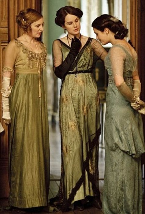Downton Abbey...rare shot where the 3 dresses are equally gorgeous. Usually Mary wears the best frock.