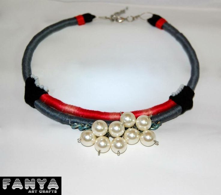 "Statement necklace ""Circus""  Made from paracords, big pearls & tiny plastic beads"