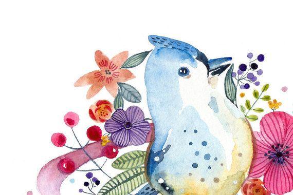 Uccello di pittura acquerello di scuola materna di BigEyesWithLove