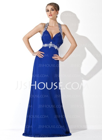 Prom Dresses - $127.99 - Sheath Halter Sweep Train Chiffon Prom Dresses With Ruffle Beading (018002821) http://jjshouse.com/Sheath-Halter-Sweep-Train-Chiffon-Prom-Dresses-With-Ruffle-Beading-018002821-g2821
