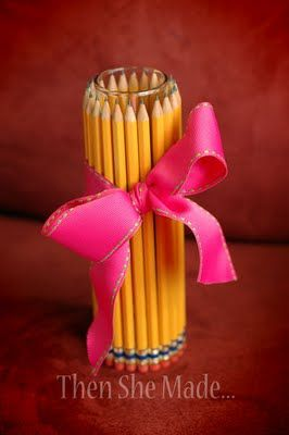 """Not exactly a """"bouquet of freshly sharpened pencils,"""" but still cute. :-)  http://www.thenshemade.com/2012/08/fall-projects.html"""