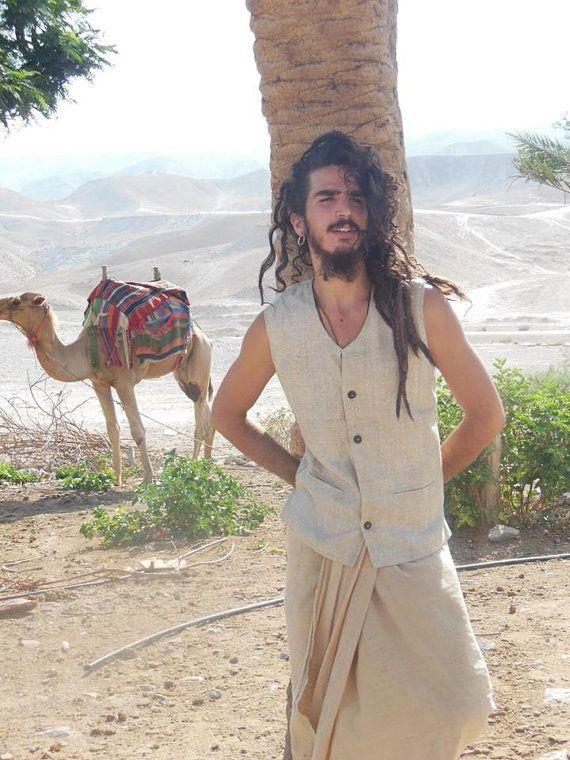 tribal men vest raw silk
