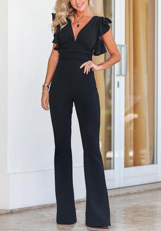 cb60e218c0f Black Ruffle Deep V-neck High Waisted Elegant Banquet Party Wide Leg Long  Jumpsuit
